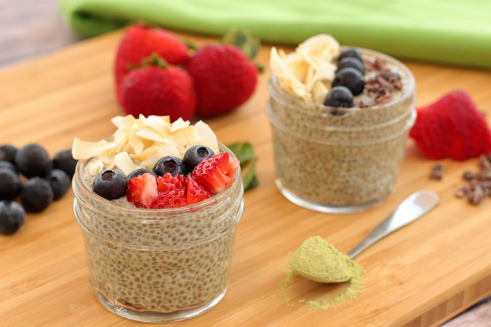 chia seed pudding with berries and matcha