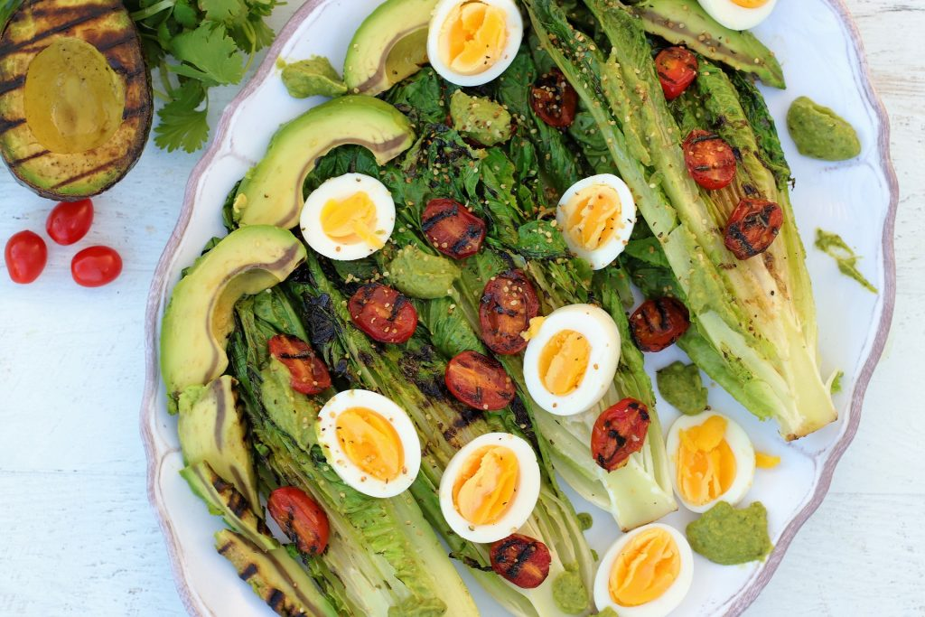 grilled romaine salad with egg and hemp