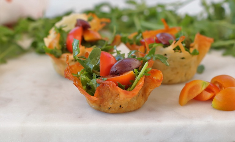 picture of homemade parmesan salad bite cups