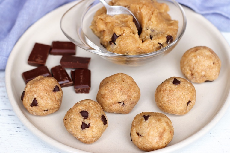 picture of cookie dough bites using tiger nut flour
